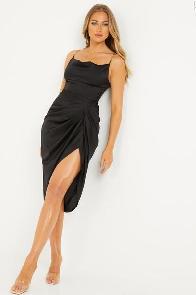Black Satin Cowl Neck Dress